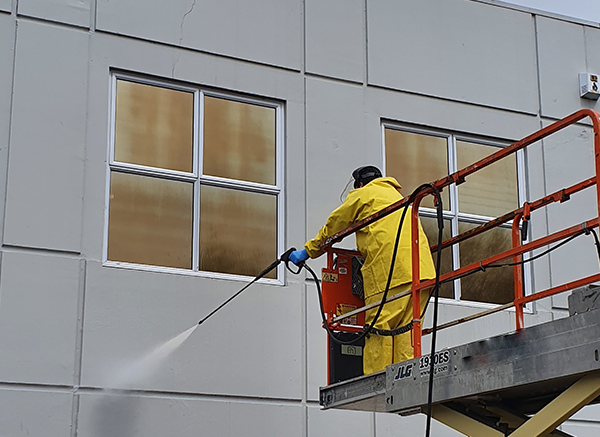 Working at heights water blasting